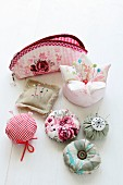 Hand-crafted pin cushions and sewing case