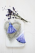 Hand-dyed tassels on fabric heart and lavender flowers