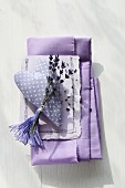 Decoration suggestion: lavender flowers and tassel on fabric heart