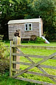 Nostalgic shepherd's hut in meadow on edge of woods; cat sitting on wooden gate