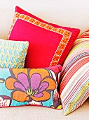 Colorful, cheerful throw pillows on the sofa