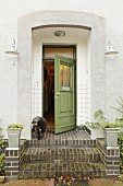 Front door of old, converted village house (Eggelingen, East Frisia, Germany)