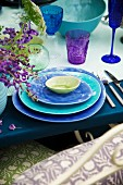 Place setting in shades of blue & purple