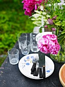 High angle view of place setting outdoor