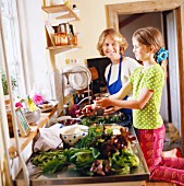 mother and daughter in kitchen