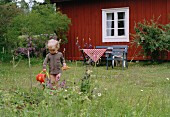 Child wearing no trousers watering plants in garden of red, Swedish holiday cottage