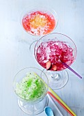 Cherry, kiwi & blood orange granitas