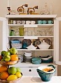 Chinaware in a kitchen cupboard