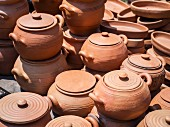 Clay pots used in traditional Georgian kitchen.