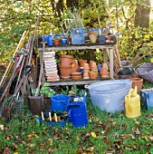 Gardening utensils & tools in autumnal garden