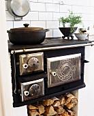 Old wood-fired range in kitchen (Sweden)