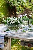 Wood anemones in vases on table in garden
