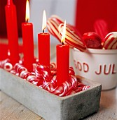 Advent candlestick with four candles lit in turn on each Sunday in Advent, Sweden