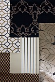 Wallpaper samples in monochrome, black and white patterns