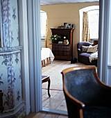 View into bedroom through doorway