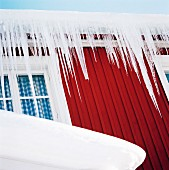 Icicles on a house, Sweden.