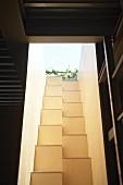 Blick von innen auf schmalen Lichtschacht mit gemauerter Sambatreppe