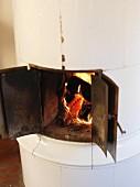 Tiled stove, Sweden.
