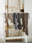 Socks hanging on rack