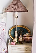 Antique lamp shade on side table