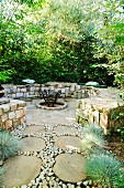 Circular seating area with fire basket in front of green hedges and paved pathway in summery garden