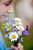 Girl holding posy of wild flowers (close-up)