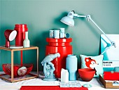 Home accessories in shades of blue & red