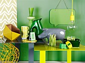 Home accessories in shades of green & yellow