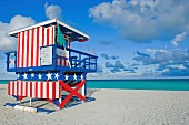Lifeguard tower, South Beach, Miami, Florida, USA