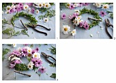 Hand-tying a wreath of pink and white daisies