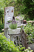 Garden decorated with flea-market finds