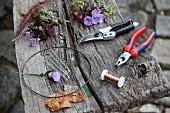 Benötigte Materialien für selbstgebastelten Blätterkranz