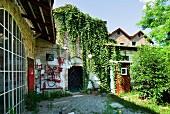 Hinterhof einer ehemaligen Fabrik mit bewachsener Ziegelfassade und sonnenbeschienener Garten
