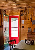 A kitchen of an Adirondacks cabin