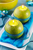 Green apples used as tealight holders