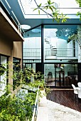 View from courtyard to glass facade of architect-designed house in Sao Paulo