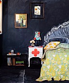 Colourful fabrics and painted flea market furniture combined with blackboard paint in bedroom - create new accessories using chalk time and time again