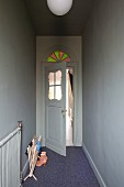 Nostalgic, 20s interior door with glass panel and stained glass transom light