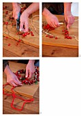 Hand-crafting a heart-shaped wreath of rosehips