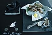 Minimalistische Tischdeko in Anthrazit - geeiste Austern in Falt-Schale auf einer mit Tafelfarbe gestrichenen Tischplatte