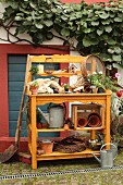 Hand-crafted, wooden potting table