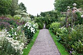 Blooming flower beds lining gravel path with topiary box bushes in background in English garden