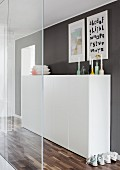 Half-height, white cabinet in front of dark grey wall in corridor behind clear glass partition