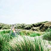 Holz-Klappstuhl mit wehendem Tuch in Dünenlandschaft