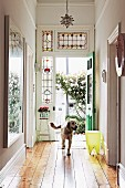Dog in hallway with open Art-Nouveau stained-glass front door and view of rose bush in courtyard