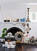 Festively decorated fireplace, hearth & mantelpiece in living room