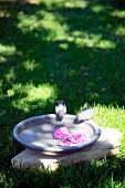Flowers floating in bird bath with two bird figurines in garden