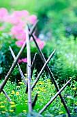 Empty hay-drying rack in summery garden