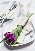 Purple tulip for mum wrapped in decorative ribbon on white plate