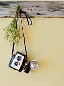 Antique camera and posy hanging from wooden peg board